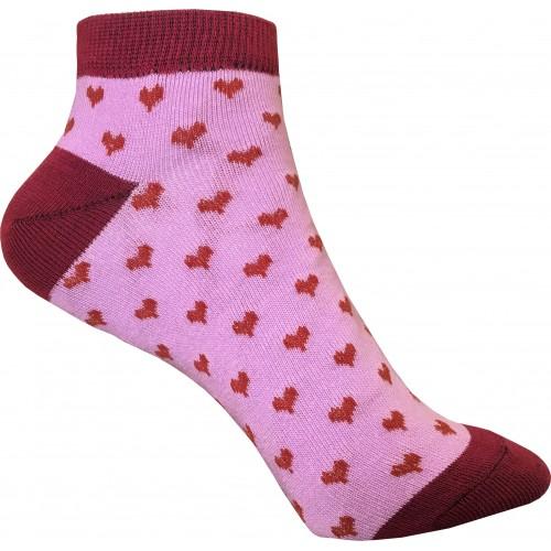 Женские носки с сердечками VERONA (фиолетово-бордовые)