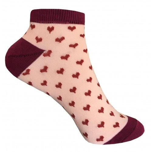 Женские носки с сердечками VERONA (бордо-персик)