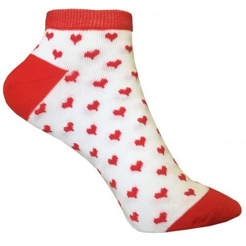 Женские носки с сердечками VERONA (бело-красные)