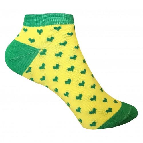 Женские носки с сердечками VERONA (желто-зеленные)