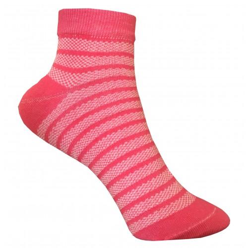 Укороченные носки полоска в сетку VERONA (малина)