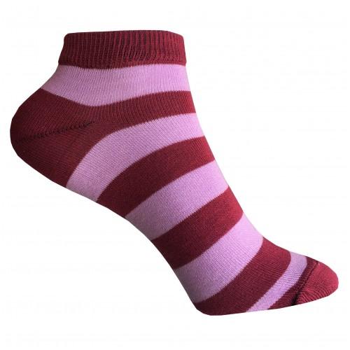 Женские укороченные носки в полоску VERONA (розово-бордовые)