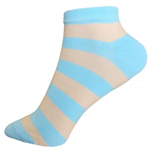 Женские укороченные носки в полоску VERONA (голубые-бежевые)