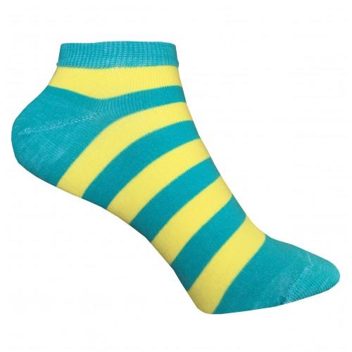Женские укороченные носки в полоску VERONA (желто-бирюзовый)