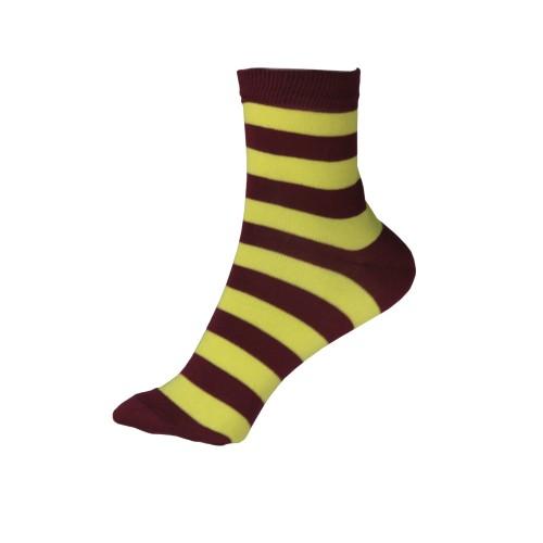 Женские носки в полоску VERONA (желто-бордовый)