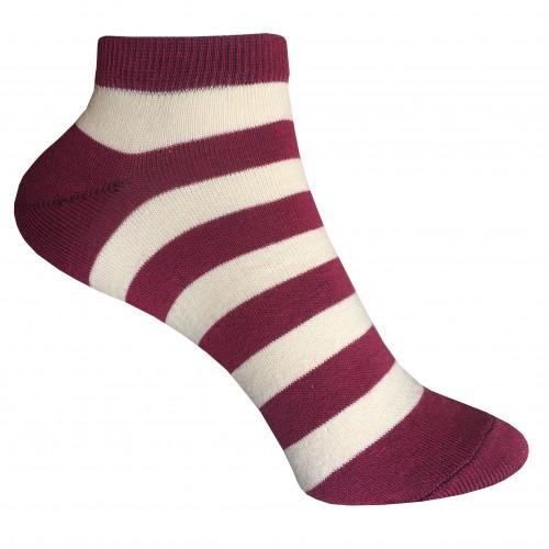 Женские укороченные носки в полоску VERONA (бордо-беж)